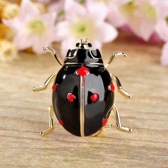 Captivating Black Enamel Ladybug Brooch